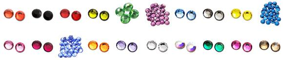 Rhinestone in different shapes and colors