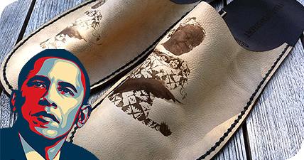"President Obama Received an""Grandma Slippers"" Engraved by GCC LaserPro Laser Engraver"