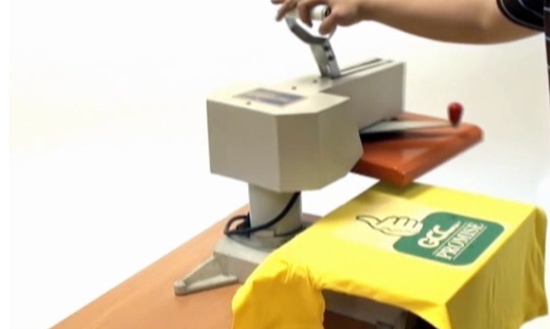 Place the Heat Transfer Vinyl films with your image on the T-shirt and heat press it with a HeatPress machine